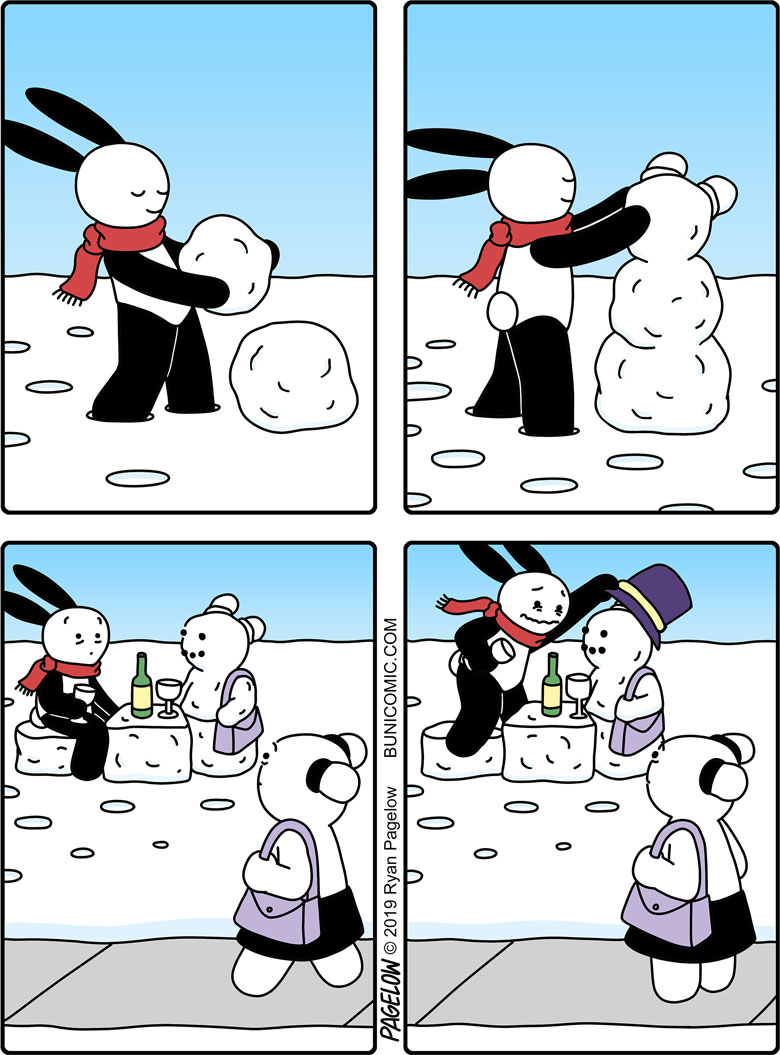 It's not what it looks like. It's definitely a snowMAN.