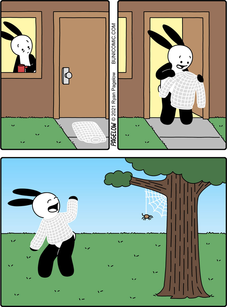 This could have an extra panel where the spider has a sinister smile, and then another panel where Buni is stuck in his sticky web sweater.